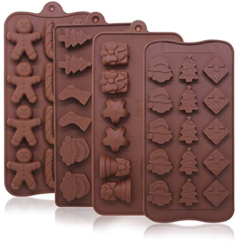 4 Pack Christmas Candy Molds Trays, YuCool Silicone Baking Chocolate Jelly Molds with Shapes of Snowman,Socks,Candy Stick,Gift Box,Cookie Man,Candy Cane,Stars,Bell,Santa Head,Christmas Tree-4 Types