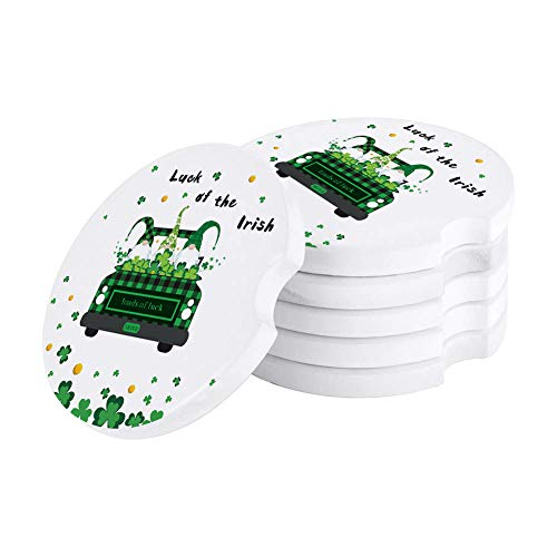 Green Buffalo Lattice Truck with Gnomes Car Coasters for Drinks, 6Pcs Absorbent Stone Drink Coaster Cup Holder, Celtic Knots Clover Perfect for Car Accessories