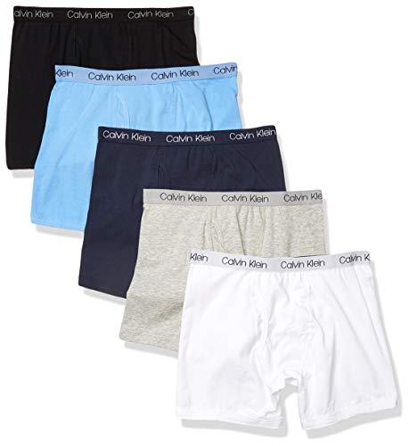 Calvin Klein Boy's Kids Modern Cotton Assorted Boxer Briefs Underwear, Heather Grey, CK Logo Blue, Red, CK Logo Grey, Green, 5 Pack, XLarge