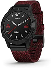 Garmin fenix 6 Sapphire, Premium Multisport GPS Watch, Features Mapping, Music, Grade-Adjusted Pace Guidance and Pulse Ox Sensors, Black DLC with Heathered Red Nylon Band