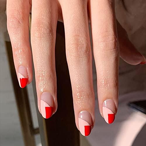 Prensa corta ovalada en uñas Stiletto rojo uñas postizas cubierta completa hipotenusa...