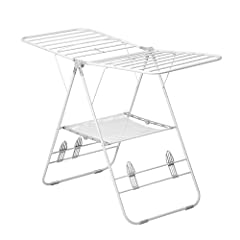 Foldable drying rack configures into six positions 46-linear feet of drying space folds flat for compact storage Steel support arms handle heavy garments and large loads Includes sweater shelf and shoe drying rack Saves energy and extends life of clo...