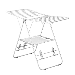 foldable white wire laundry drying rack