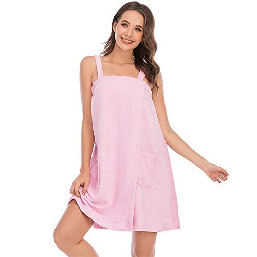 XCHJY Las Mujeres usable Toalla de baño Suave Microfibra Absorbente Toalla de Playa Honda Albornoz Sólido Bolsillos Toalla Toalla Quick-Dry SPA (Color : Pink, Size : Medium)