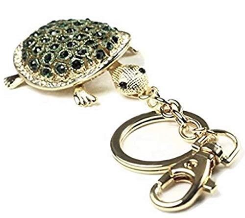 Quadiva Bag Charm Turtle - Schildkröte - Taschenanhänger für Damen (Farbe: Gold/grün) mit Kristallen besetzt
