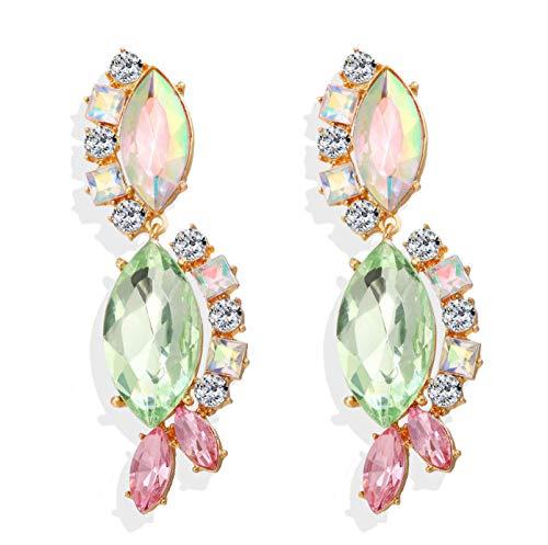 Pendientes de Gota de circonio cúbico para Mujer Gota de Agua Cristal Rosa Pendiente Verde Joyería Los Mejores Regalos para Navidad