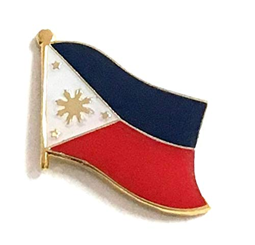 Wholesale Pack of 50 Philippines International Single Flag Lapel Pins, 50 Filipino Enamel Tie & Hat Pin Badges with Over 100 Countries Available