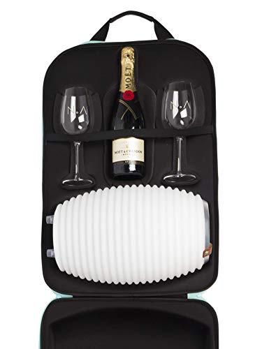 The.Bag + Color 35 - Reisetasche mit The.Lampion Color (Bluetooth-Lautsprecher, Lampe und Weinkühler) & 2 Weingläsern