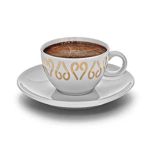 Arzum Okka Porzellan Türkisch/Griechisch oder Arabisch Kaffeetassen und Untertasse, weiß, 2Stück