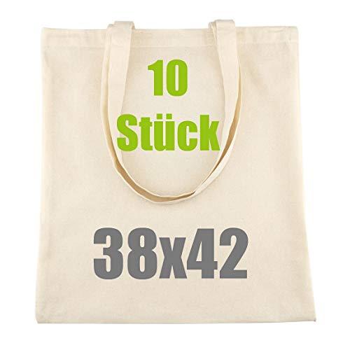 LEVIATAN Schwere Baumwolltasche Jutebeutel mit Zwei Langen Henkeln 38x42cm 144g/m2 Einkaufstasche | Tragetasche | Natur Verpackung 10 Stück
