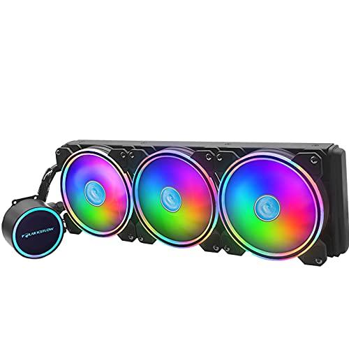 Desconocido Generic RGB CPU Enfriador líquido 120mm radiador 3 Ventiladores para LGA 1150/1151/1155 LGA2011-3 LGA2066 para AMD FM1 AM3 AM3 para AMD AM2 AM2 TR4