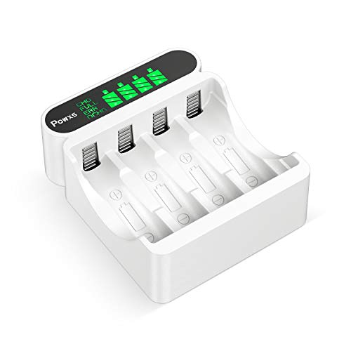 POWXS 4 Bay LCD AA AAA Battery Charger for NIMH NICD AA AAA Rechargeable Batteries