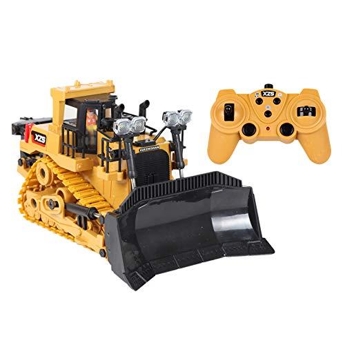 #N/A/a 2,4G 9 Canales Radio Control RC Bulldozer Tractor Luces LED y Sonido construcción camión ingeniería Coche Excavadora eléctrica volcado con 2,4G - 3 baterías de plástico