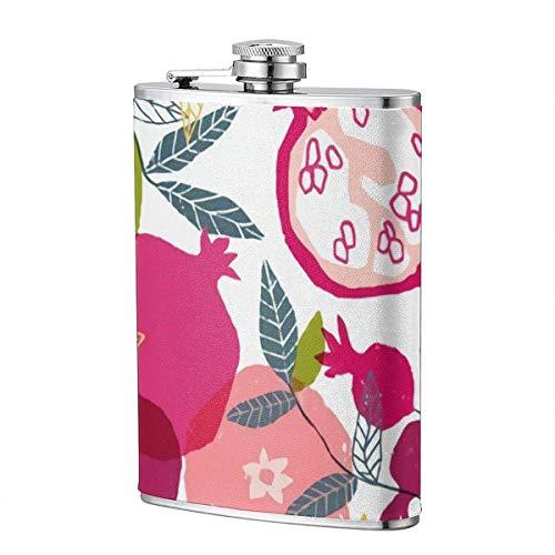 XBYC handbemalte Blumenplakat Granatapfel Schnaps und Trichterflasche 8 Unzen auslaufsichere Edelstahl-Taschenflasche für Alkohol Whisky Rum und Wodka Herren Geschenk