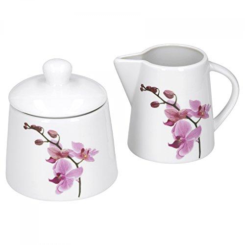Van Well Zuckerdose + Milchkännchen-Set Kyoto, runder Zuckerspender mit Deckel + Milch-Gießer, Porzellan-Geschirr, Blumen-Dekor Orchidee, pink