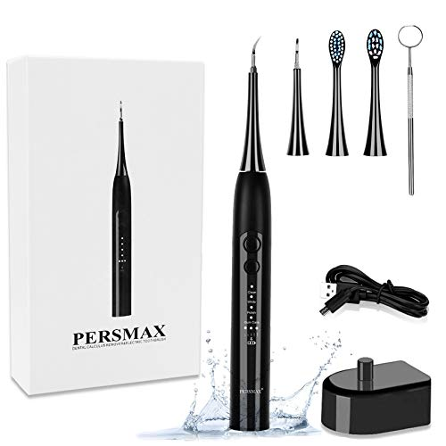 PERSMAX Electric Dental Calculus Remover, Sonic Tooth Tartar Scraper Cleaning Tools with 4 Replaceable Clean Heads, 4 Adjustable Modes, Dental Picks Mirror, USB Charger (Black)