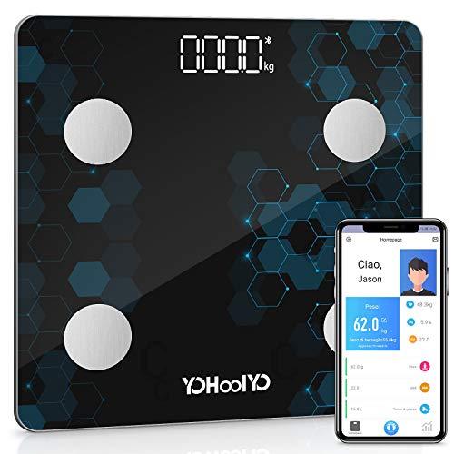 YOHOOLYO Bilancia Pesa Persona Digitale con 14 Dati di Misurazione, Bilancia Pesapersone Intelligente Bluetooth del Corpo Peso Muscoli Massa Grassa BMI BMR Massa Ossea, App per IOS e Android