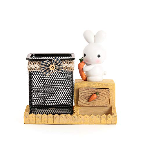 Bunny Pen Holder with Mini Drawer, Chris.W Creative Novelty Office Desk Pencil Cup Boy Girls Gadgets Stationery Storage Box Unique Gifts for Easter Deocrations (Rabbit with Carrot)