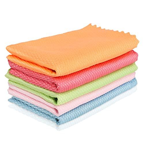 Hotar 5 of 10 stuks golfpatroon visschubben stof doeken 30 x 40 cm waterabsorberend glas keukenreinigingsdoek doeken…
