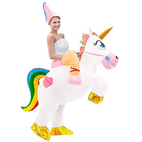 Tacobear Aufblasbare Einhorn Kostüm für Erwachsene Fasching Karneval Halloween Kostüm Trag Mich Kostüm Aufblasbare Reiter Kostüm für Damen Herren mit Hut