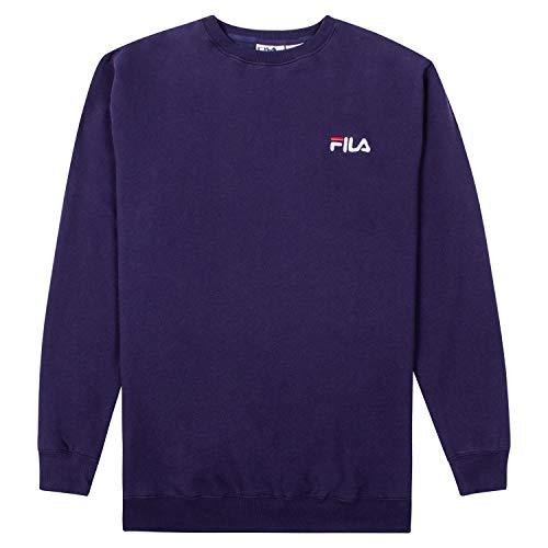 FILA Sweatshirts for Men, Crewneck Sweatshirt, Big and Tall Mens Sweatshirt Navy