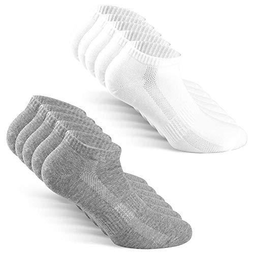 TUUHAW Calcetines de Deporte Mujer Hombre 10 pares Medio Cortos Calcetin Zapatilla Transpirable Blanco Gris 43-46