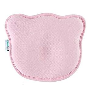 HOMYBABY® Almohada Bebe   Cojin Plagiocefalia y 2 Fundas de Regalo 100% Algodón   Cojin Bebe con Diseño Ergonómico   Almohada Cuna Bebe (Rosa)