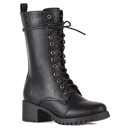 Essex Glam Womens Mid Calf Military Booties Ladies Black Synthetic Leather Chunky Cleated Sole Low Mid Block Heel Zip Up Lace Up Combat Boots Shoes 8 B(M) US