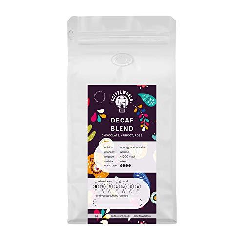 Coffee World   Decaf Blend UK geröstete ganze Kaffeebohnen – perfekter Espresso/Filter für Cafés, Geschäfte, Geschäfte und Heimanwender (Kaffeebohnen 1 kg)