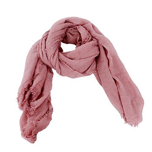 DAYFA Klassisch einfarbiger Viscose Schal hochwertig,leicht Crinkle Tuch,Unisex SH0411 (Rosa)