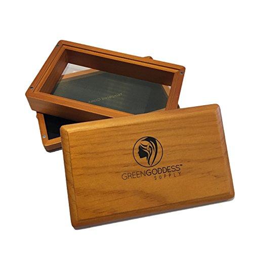 Green Goddess Supply Medium Walnut Pollen Sifter Box - 100 Micron Mesh Sifting Screen - Herb & Pollen Shaker & Storage Case - Magnetic Closure - 3-Piece Sifter (6 5/8' x 4 1/4' x 2')