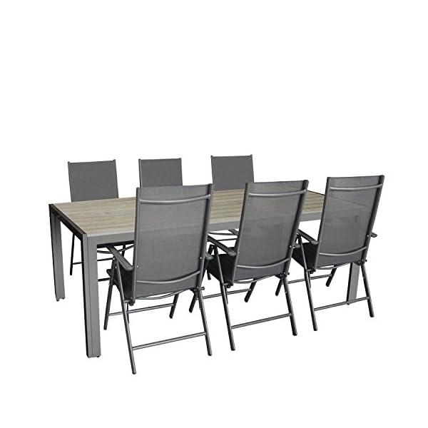 Multistore 2002 7tlg. Gartengarnitur, Aluminium Gartentisch mit Polywood-Tischplatte 205x90cm + 6X Aluminium-Hochlehner…
