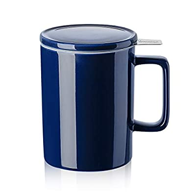 Sweese 205.103 Porcelain Tea Mug with Infuser and Lid - 14 OZ, Navy