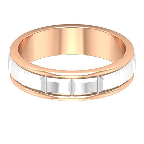 Anillo de compromiso para hombre, anillo de oro grabado único, anillo de boda de metal mezclado, anillo simple de aniversario, anillo de promesa, regalo para padrino, 14K Oro rosa, Size:EU 55