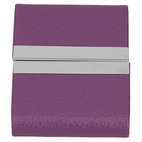 Tarjetero, estuche para tarjetas de visita Excelente calidad y durabilidad Aluminio de alta calidad y cuero PU Diseño de moda para(purple, 400#)