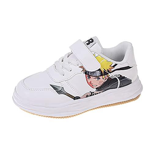 QOOO Naruto Zapatos para niños Estampado de Anime Primavera otoño nuevos niños Zapatos para niños Suela Suave Zapatos Casuales Altos Zapatos para Correr Zapatos Deportivos para niños,Blanco,33EU