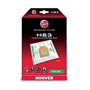 Hoover H63 H63-Hoover Bolsa para aspiradora Pure-Epa. Compatible con los Modelos Brave, Capture, Flash, Freespace Greenray, Sprint. Incluye 4 uds, 2400 W, 1.7 litros, 0 Decibelios, Nailon