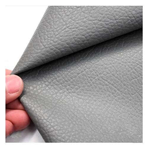 SSYBDUAN Möbelstoff Premium Bezugsstoff Zum Kunstleder Stoff Litchi Korn Textur Kunstleder Vinyl Leder Stoff Polster Strukturiertes Material - Halber Meter 50 cm X 140 cm - Grau (Size : 1.4x2.5m)