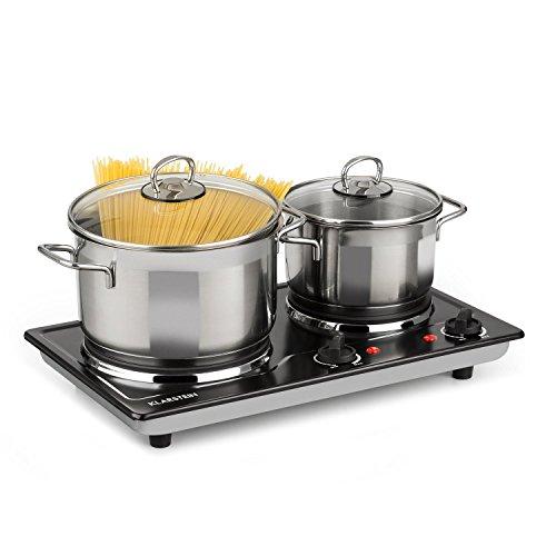 Klarstein Cookomaniac - Kochplatte, Platte, 2500 Watt Gesamtleistung, 2 Kochfelder, bis 320 Grad, Edelstahl, 2 x Thermostat, Kontrollleuchte, Anti-Rutsch-Füße, kompakt, schwarz