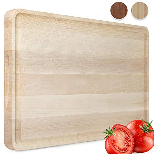 AZRHOM Large Maple Wood Cutting Board for Kitchen 18x12 Cheese Charcuterie Board (Gift Box Included) Extra Thick Reversible Butcher Block Chopping Board with Handles and Juice Groove