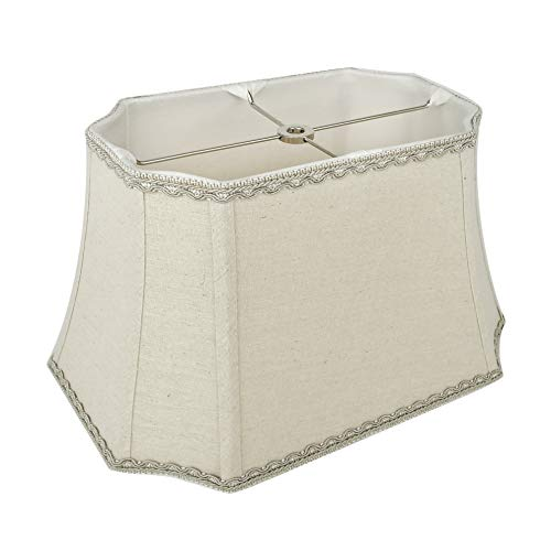 Mestar Decor Bell Rectangle Cut Corner Linen Lampshade with Lace Trim 10/6x14/10x10 (Spider)