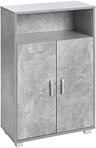 ts-ideen Armadietto Mobiletto Comó 94x60 cm stile moderno con doppia anta e vano aperto. Grigio Cemento