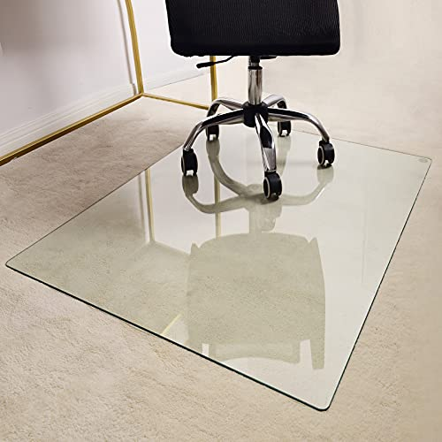 """GLSLAND 46"""" x 36"""" Glass Chair Mat for Hardwood Floor, 1/5"""" Thick Clear Tempered Glass with 4 Anti-Slip Pads, Office Chair Mats for Carpeted Floor, Chair Mat for Hardwood Floor, Desk Chair Mat"""