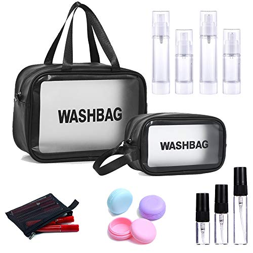 Horsande Clear Toiletry Bag with Atomiser Bottle Set, Waterproof Toiletries Carry Pouch with Empty Sample Bottles, Cosmetic Carry Case, Makeup Organizer Bag for Travel, Bathroom, Big + Medium, Black