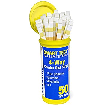 Poolmaster 22211 Smart 4-Way Swimming Pool and Spa Water Chemistry Test Strips 1 Pack Made in the USA White and yellow