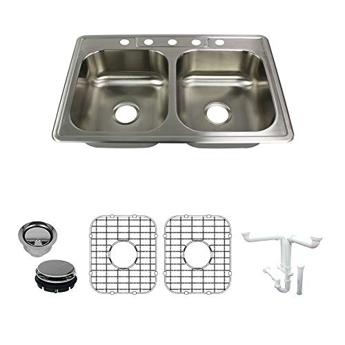 Transolid K-STDE33227-5 Kitchen Sink Kit, 33-in x 22-in x 7-in, Brushed Stainless Steel