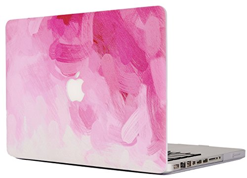 KECC Laptop Case for MacBook Air 13 Inch Plastic Case Hard Shell Cover A1466/A1369 (Pink - Water Paint)