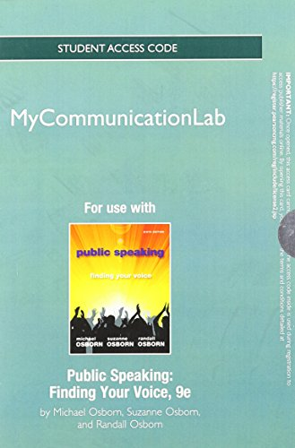NEW MyCommunicationLab -- Standalone Access Card -- for Public Speaking: Finding Your Voice (9th Edition)