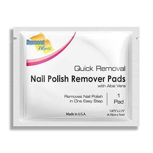 Diamond Wipes Acetone Nail Polish Remover Pads Pack of 50ct Individually Wrapped Pre-Soaked Pads...