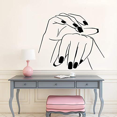 Santangtang Verwijderbare muurvinylnagelsalon-PVC-muursticker, schoonheidssalonachtergrond, muurkunst-aftrekplaat-sticker-behang